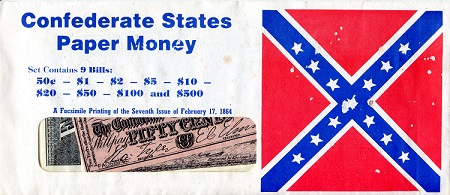 Facsimile Confederate States Paper Money - 9 Notes   9 Banknote Set