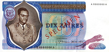10 Zaires  XF/VF (see scan) Banknote