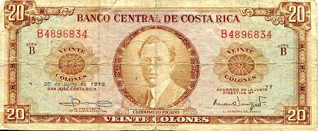 20 Colones  VG (See scan) Banknote