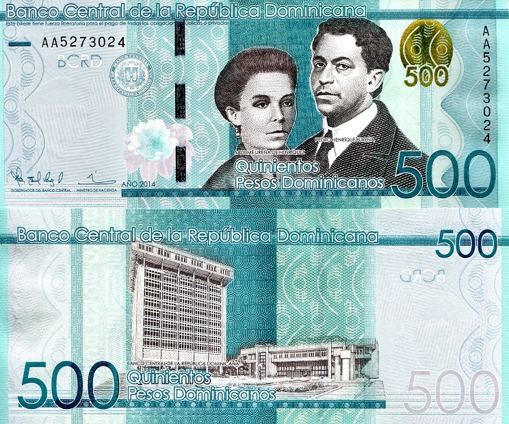 500 Pesos Unc Banknote See Large Image Country Dominican Republic