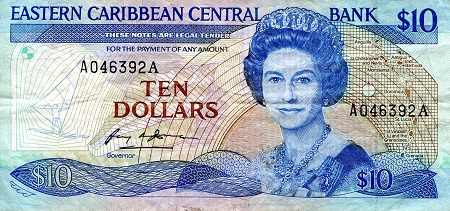 EAST CARIBBEAN STATES 10 Dollar Banknote World Polymer Money Currency Pick pNew