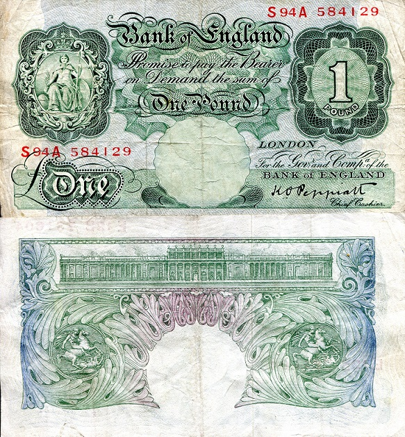 1 Pound  VG (see scan) Pinhole in center Banknote