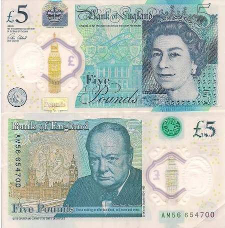 ENGLAND 5 Pounds Banknote World Paper Money UNC Currency Pick p-391d Queen Note