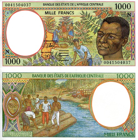 1,000 Francs  aUNC (printed on thinner paper) Banknote