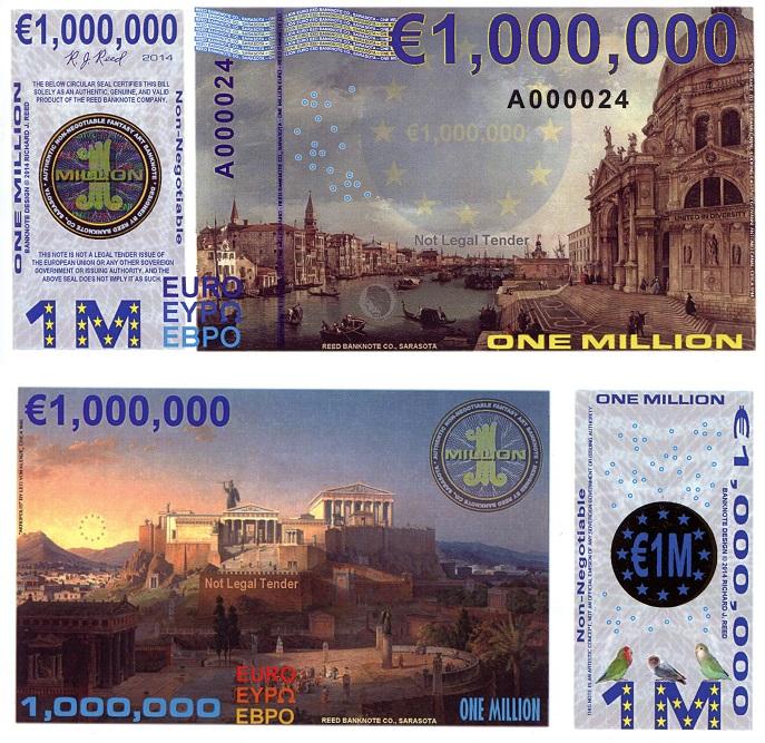ONE MILLION EURO Banknote World Money Currency Bill Fun ...