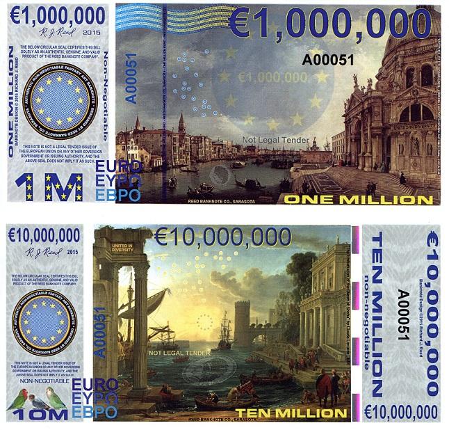 ONE & TEN MILLION EURO Banknote World Money Currency Fun ...