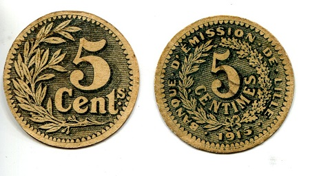 5 VF (see large scan) Card Coin