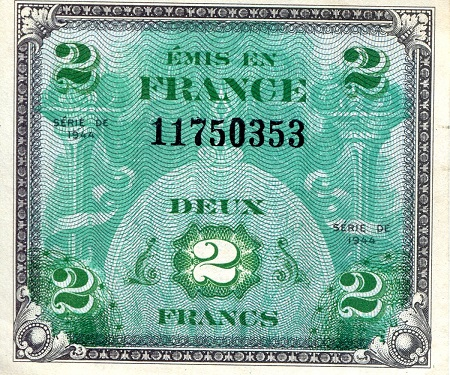 2 Francs  XF/F (written on back) Banknote