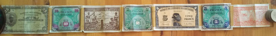 French 6 Note Short Snorter Belt  Used 6 Banknote Set