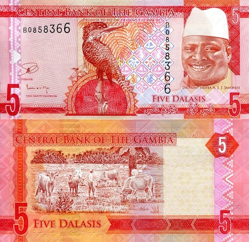 Africa Paper Money 5 Dalasis 2015 UNC Gambia