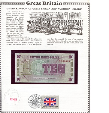 10 Pence  N/A (note looks UNC) Military Note Banknote