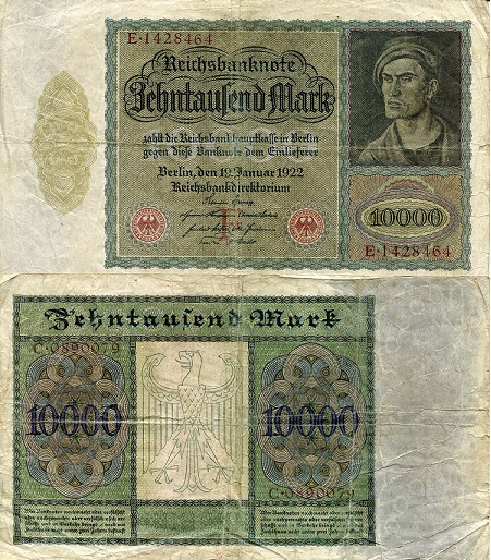 10000 Marks  F/VG Banknote