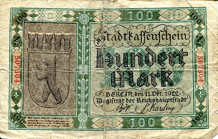 100 Marks  G/Poor (see large scan) Banknote