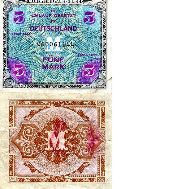 5 Marks  F/VG Banknote