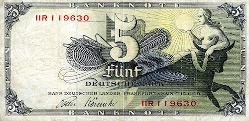 5 Marks  F/VG (see scan) Banknote