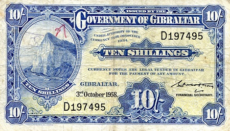 10 Shillings  VG (see scan) Pin Holes Banknote