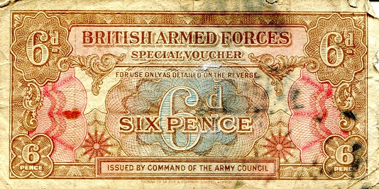 6 Pence  VG Banknote
