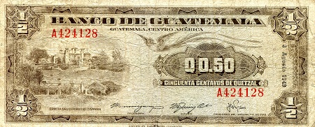 1/2  Quetzal  VF/F (see scan) Banknote