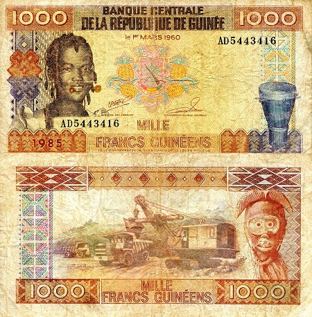 1,000 Francs  VG (see large scan) Banknote
