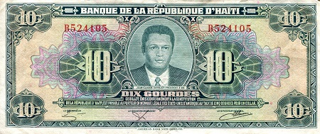 10 Gourdes  F (See large scan) Banknote