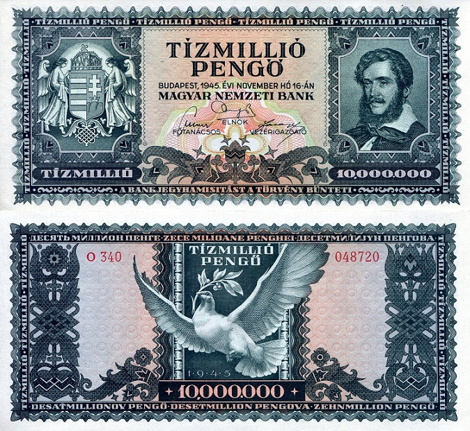 10 Million Pengo  aUNC Banknote