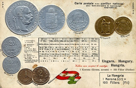 Postcard with National Flag & Coin representation   Banknote