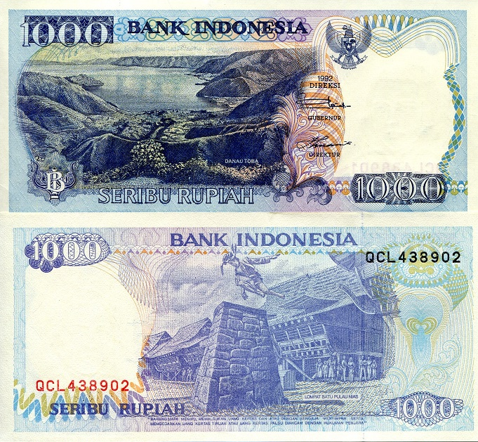 1000 Rupiah  aUNC - minor crimp top edge Banknote