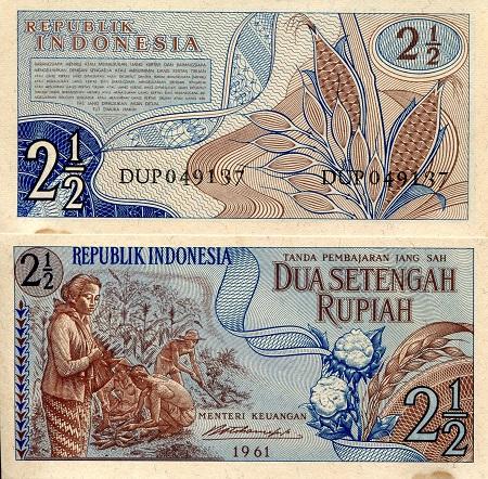 P-79 INDONESIA 2 1//2 RUPIAH 1961 XF+