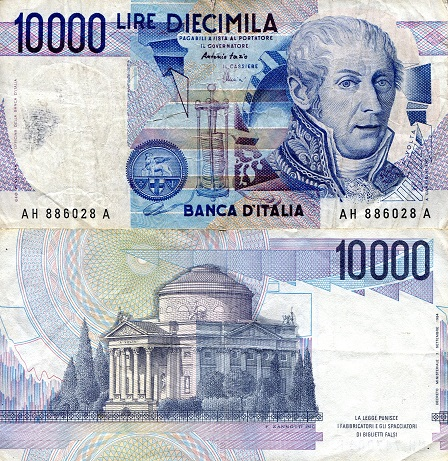 10,000 Lire  F/VG (see scan) Banknote
