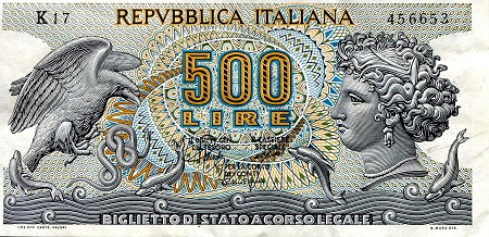 500 Lira  VF/F (see scan) Banknote