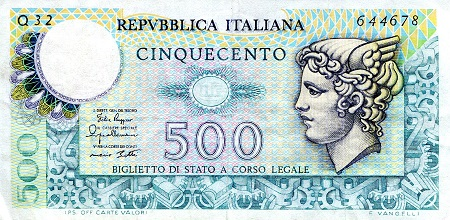 500 Lira  F (see scan) Banknote