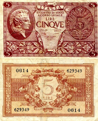 5 Lire  F/VG (See scan) Banknote