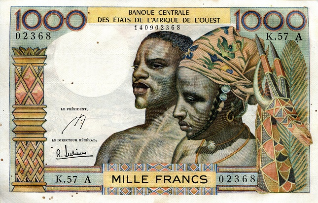1000 Francs  VF (see scan) Banknote