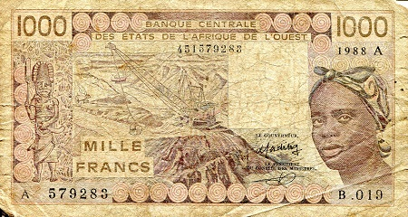 1,000 Francs  G (Thin - hole - tear) Banknote