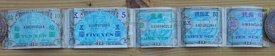 Japan Allied Military Currency 5 Note Snorter Belt  Used 5 Banknote Set