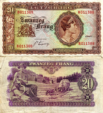 20 Frang  VG (see large scan) Banknote