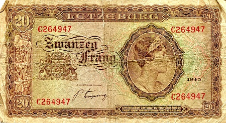 20 Francs  VG/G (see large scan) 1/2 inch tear Banknote