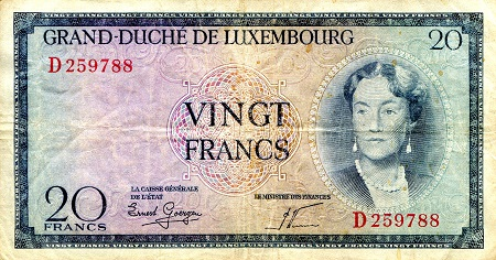 20 Francs  F - Hard Fold in Middle Banknote