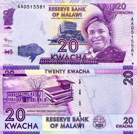MALAWI 20 KWACHA 2016 P 57 NEW DATE UNC