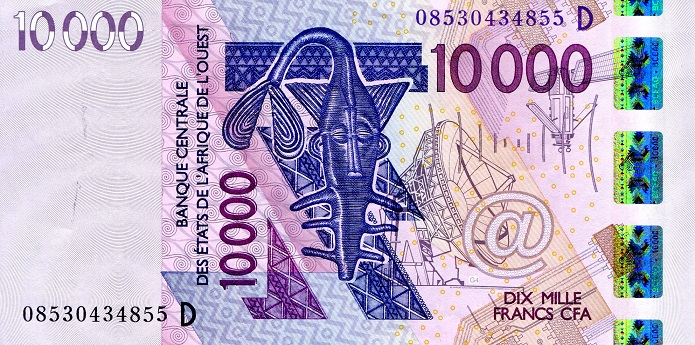 10,000 Francs  XF Banknote