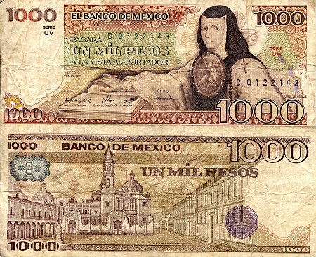 1,000 Peso  VG/G (see large scan) Banknote