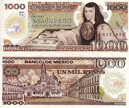 1987 P-88b banknote 5,000 A-UNC Mexico 5000 Pesos