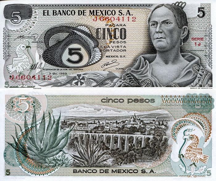 5 Pesos  aUNC (small corner issues) Banknote