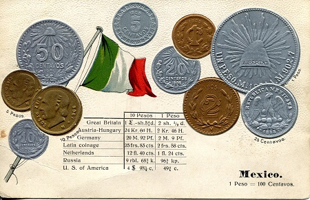 Postcard with National Flag & Coin representation  Good Banknote