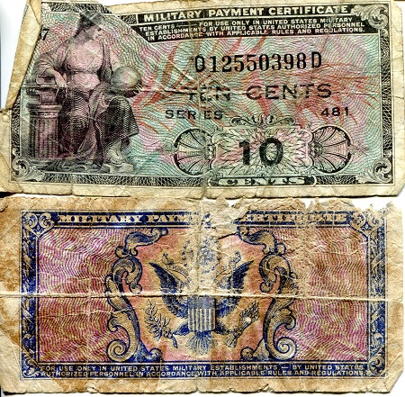 10 Cents  G - Poor (see large scan) Banknote