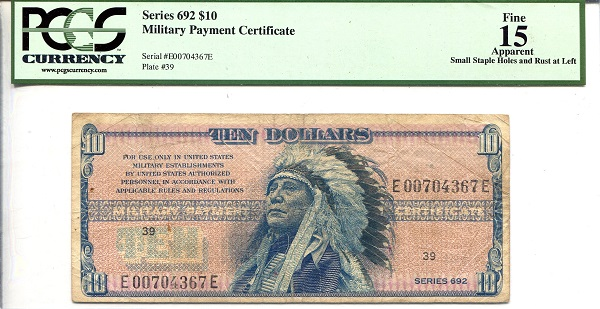 10 Dollars  F (See large scan) Banknote