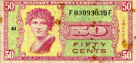50 Cents  F/VG (See large scan) Banknote