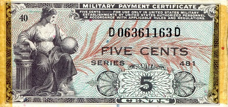 5 Cents  F/VG (See large scan) Banknote