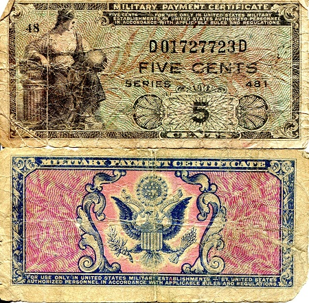 5 Cents  G (see large scan) Banknote