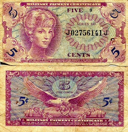 5 Cents  VG/G (see large scan) Banknote